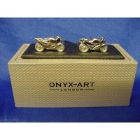 ONYX-ART CUFFLINK SET - MOTORCYCLE SUPERBIKE RACER