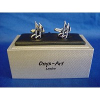 ONYX-ART CUFFLINK SET - QUAVER MUSICAL NOTE