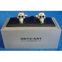 ONYX-ART CUFFLINK SET - SKULL WITH JET BLACK EYES