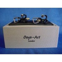 ONYX-ART CUFFLINK SET - STETHOSCOPE