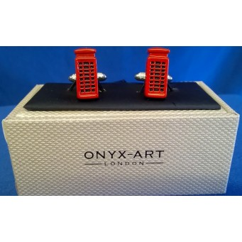 ONYX-ART CUFFLINK SET - RED TELEPHONE BOX