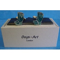 ONYX-ART CUFFLINK SET - GREEN WELLINGTON BOOTS