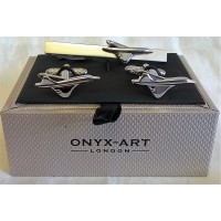 ONYX-ART CUFFLINK & TIE BAR SET – CONCORDE