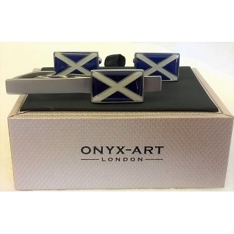 ONYX-ART CUFFLINK & TIE BAR SET – SCOTLAND ST ANDREW'S CROSS FLAG