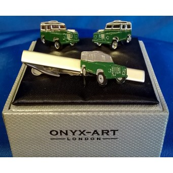 ONYX-ART CUFFLINK & TIE BAR SET – LAND ROVER