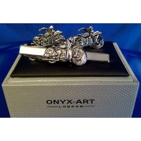 ONYX-ART CUFFLINK & TIE BAR SET – MOTORCYCLE V TWIN CLASSIC