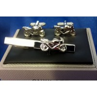 ONYX-ART CUFFLINK & TIE BAR SET – MOTORCYCLE SUPERBIKE RACER