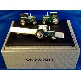 ONYX-ART CUFFLINK & TIE BAR SET – TRACTOR