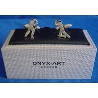 ONYX-ART CUFFLINK SET - CRICKET BATSMEN