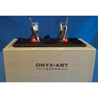 ONYX-ART CUFFLINK SET - CRICKET WICKET, BAT & BALL
