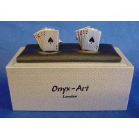 ONYX-ART CUFFLINK SET - FOUR ACES