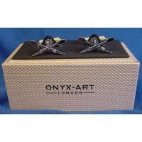 ONYX-ART CUFFLINK SET - CROSSED OARS