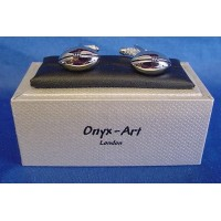 ONYX-ART CUFFLINK SET - RUGBY BALL