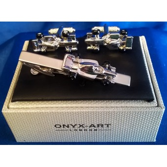 ONYX-ART CUFFLINK & TIE BAR SET – RACING CAR