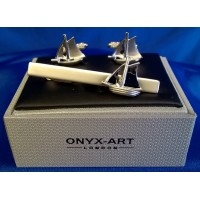 ONYX-ART CUFFLINK & TIE BAR SET – SAILING YACHT