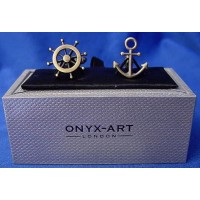 ONYX--ART CUFFLINK SET – ANCHOR & WHEEL