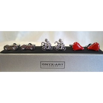 ONYX-ART CUFFLINK GIFT SET – CYCLIST, SADDLE & BICYCLE CHAIN LINK