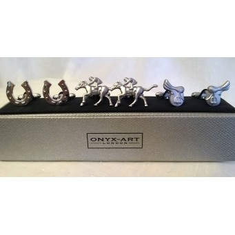 ONYX-ART CUFFLINK GIFT SET – RACEHORSES, HORSESHOES & SADDLES