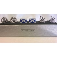 ONYX-ART CUFFLINK GIFT SET – SCOTTISH FLAG, BAGPIPES & THISTLES