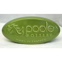 POOLE POTTERY ADVERTISING PEBBLE DISPLAY SIGN – GREEN
