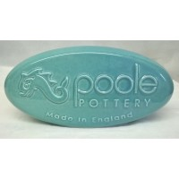 POOLE POTTERY ADVERTISING PEBBLE DISPLAY SIGN – TURQUOISE