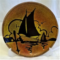 POOLE POTTERY AEGEAN 20cm CHARGER DISH – SAILING BOAT