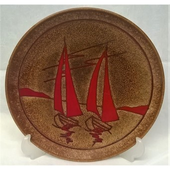 POOLE POTTERY AEGEAN 20cm CHARGER DISH – TWO YACHTS