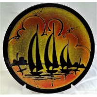 POOLE POTTERY AEGEAN 26.5cm CHARGER DISH – THREE YACHTS