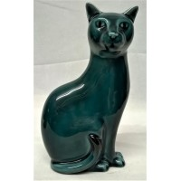 POOLE POTTERY BLUE GLAZED CAT – LEFT FACING