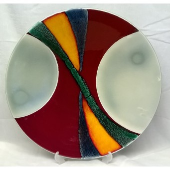 POOLE POTTERY STUDIO AURORA DESIGN FACTORY TRIAL 41.5cm CHARGER DISH BY ALAN CLARKE