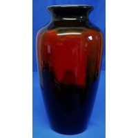 POOLE POTTERY BLACK & RED ABSTRACT DESIGN 21cm ATHENS VASE
