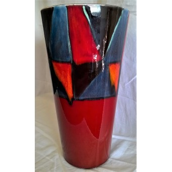 POOLE POTTERY STUDIO ABSTRACT GEOMETRIC DESIGN 35cm CONICAL VASE by ALAN WHITE