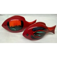 POOLE POTTERY FISH – VOLCANO DESIGN TWO PIECE SET (A)