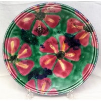 POOLE POTTERY STUDIO PINK FLOWERS 35cm SHALLOW BOWL by JANICE TCHALENKO