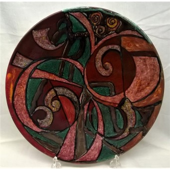 POOLE POTTERY STUDIO ABSTRACT DESIGN 41cm WALL DISPLAY CHARGER DISH by KAREN BROWN