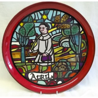 POOLE POTTERY STUDIO MEDIEVAL CALENDAR PLATE – APRIL – Ltd Edition 808/1000