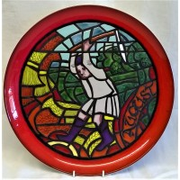 POOLE POTTERY STUDIO MEDIEVAL CALENDAR PLATE – AUGUST – Ltd Edition 522/1000