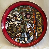 POOLE POTTERY STUDIO MEDIEVAL CALENDAR PLATE – FEBRUARY – THE ORIGINAL FACTORY STANDARD SAMPLE BY TONY MORRIS