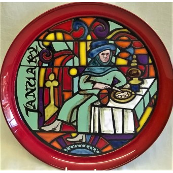 POOLE POTTERY STUDIO MEDIEVAL CALENDAR PLATE – JANUARY – Ltd Edition 526/1000