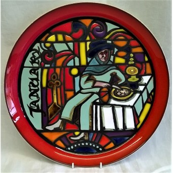 POOLE POTTERY STUDIO MEDIEVAL CALENDAR PLATE – JANUARY – Ltd Edition 910/1000