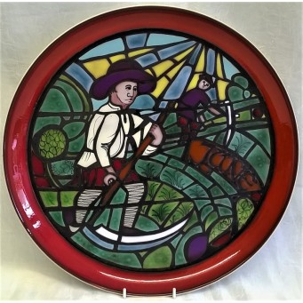POOLE POTTERY STUDIO MEDIEVAL CALENDAR PLATE – JUNE – Ltd Edition 727/1000