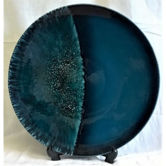 POOLE POTTERY STUDIO MOON 40cm WALL DISPLAY CHARGER DISH – PHASES OF THE MOON COLLECTION – HALF MOON