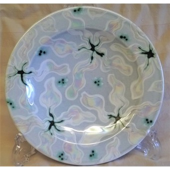 POOLE POTTERY STUDIO ABSTRACT PEARLESCENT LUSTRE DESIGN 21.5cm DISH – ROS SOMMERFELT