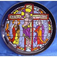 POOLE POTTERY STUDIO CATHEDRAL WALL DISPLAY PLATE – CHRIST ON THE CROSS