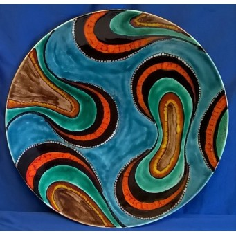 POOLE POTTERY STUDIO ABORIGINAL ART 40cm WALL DISPLAY CHARGER DISH