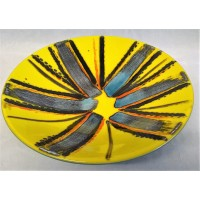 POOLE POTTERY STUDIO ABSTRACT YELLOW & BLUE 27cm BOWL – UNIQUE TRIAL PIECE BY ANITA HARRIS