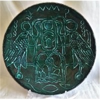 POOLE POTTERY STUDIO EGYPTIAN HEIROGLYPHICS 41cm WALL DISPLAY CHARGER DISH