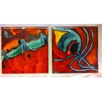 POOLE POTTERY STUDIO VOLCANO & ABSTRACT LIVING GLAZE TILES – ORIGINAL FACTORY TRIAL PIECES BY ANITA HARRIS