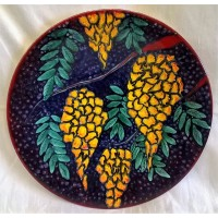 POOLE POTTERY STUDIO YELLOW WISTERIA 41.5cm WALL DISPLAY CHARGER DISH
