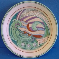 POOLE POTTERY STUDIO KAREN BROWN TRIAL STUDLAND BAY WRECK PLATE